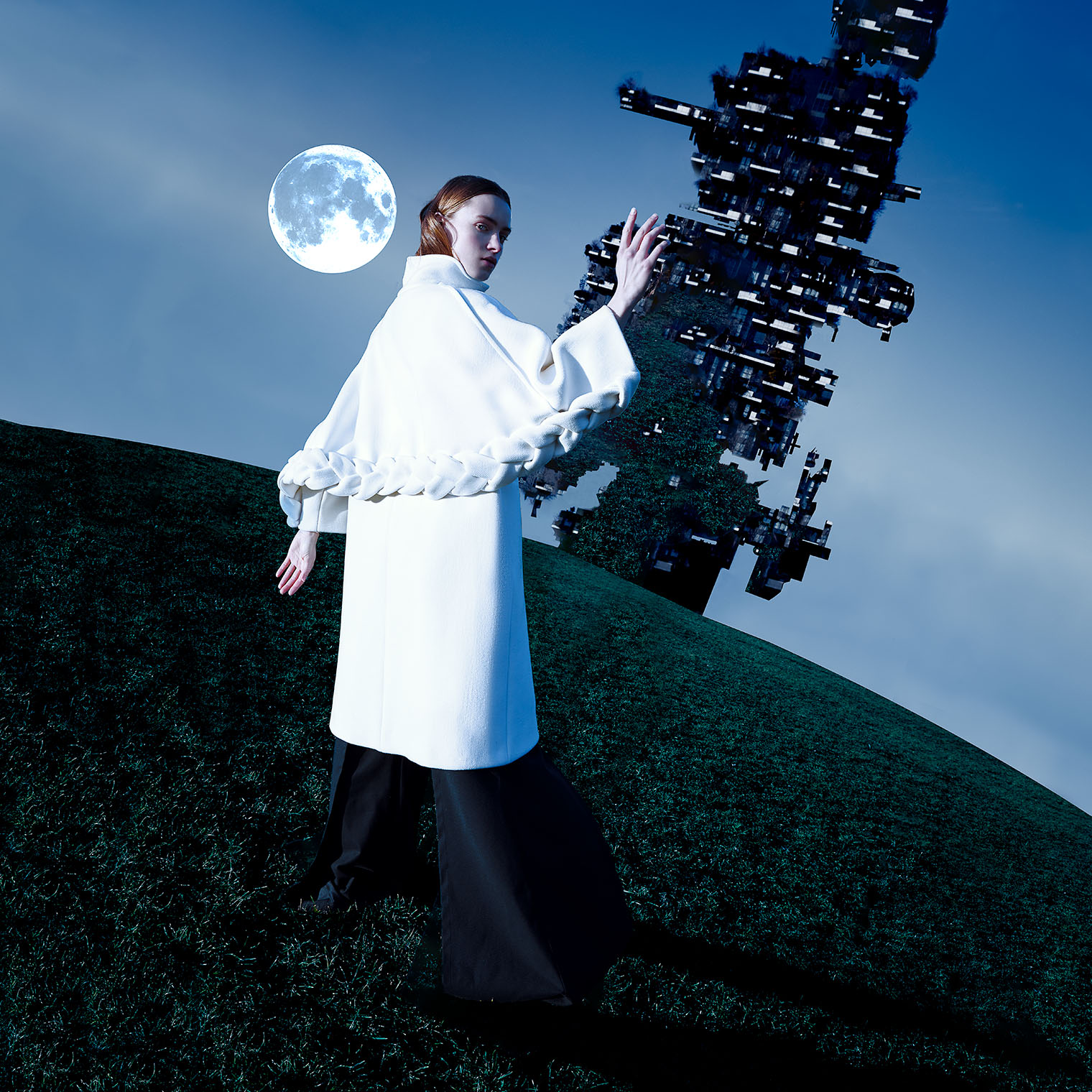 high fashion woman in white space coat on surreal planet with moon and spaceship, created by photographer Robert Wilde