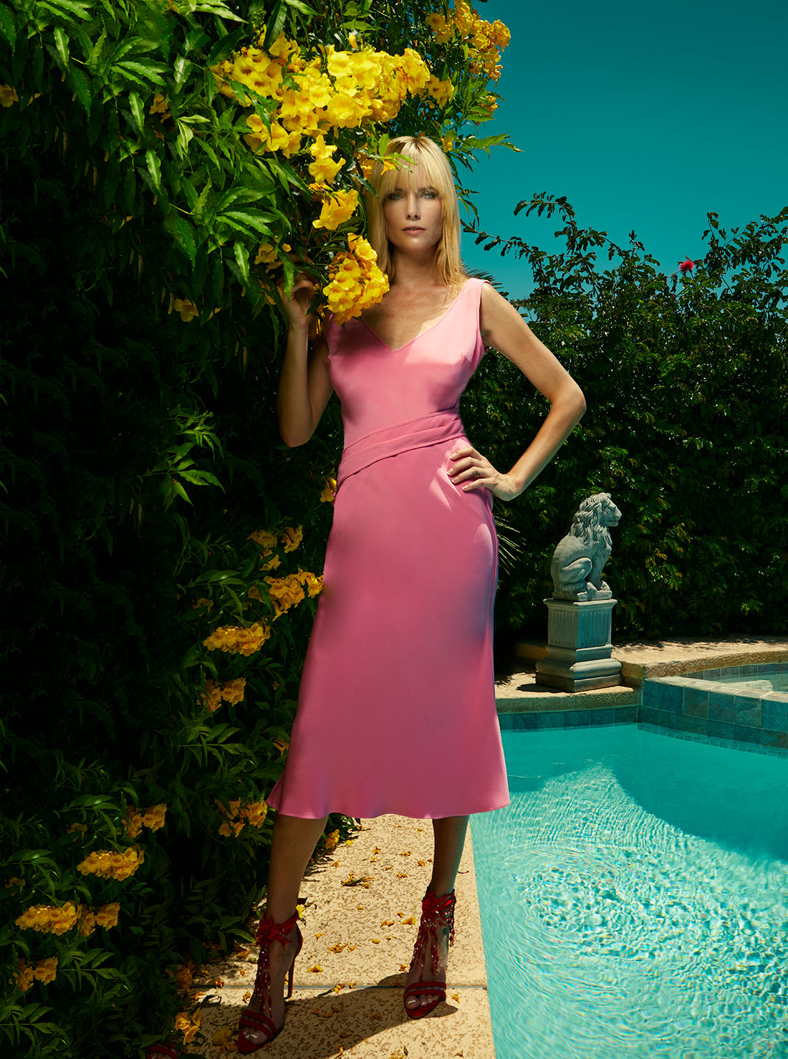 fashion photography of sophisticated woman in pink silk dress - clothing of California