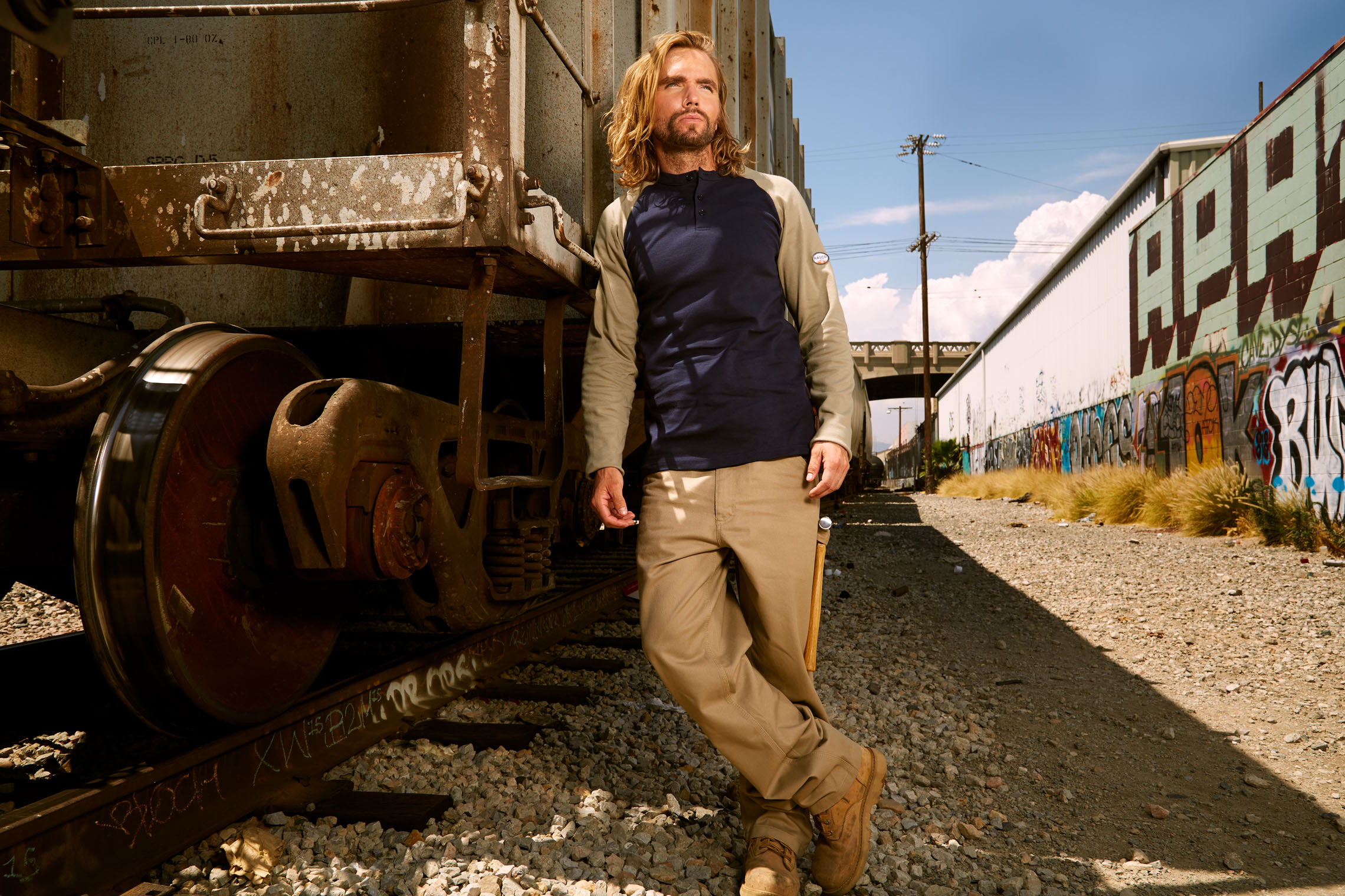 worker in workwear in workwear ad campaign