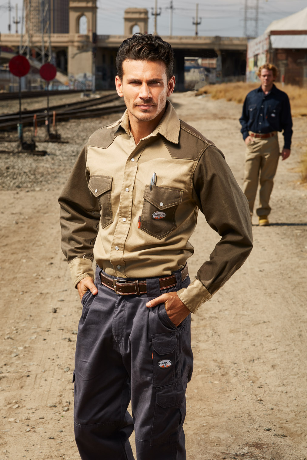 tough guy on the way to hard work in cool work shirt