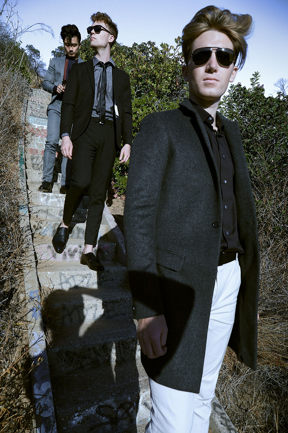 Three men at mens fashion and accessories editorial photoshoot in Los Angeles