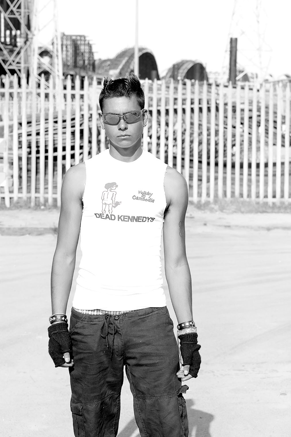 tough guy at fashion photoshoot at Los Angeles bridge construction site