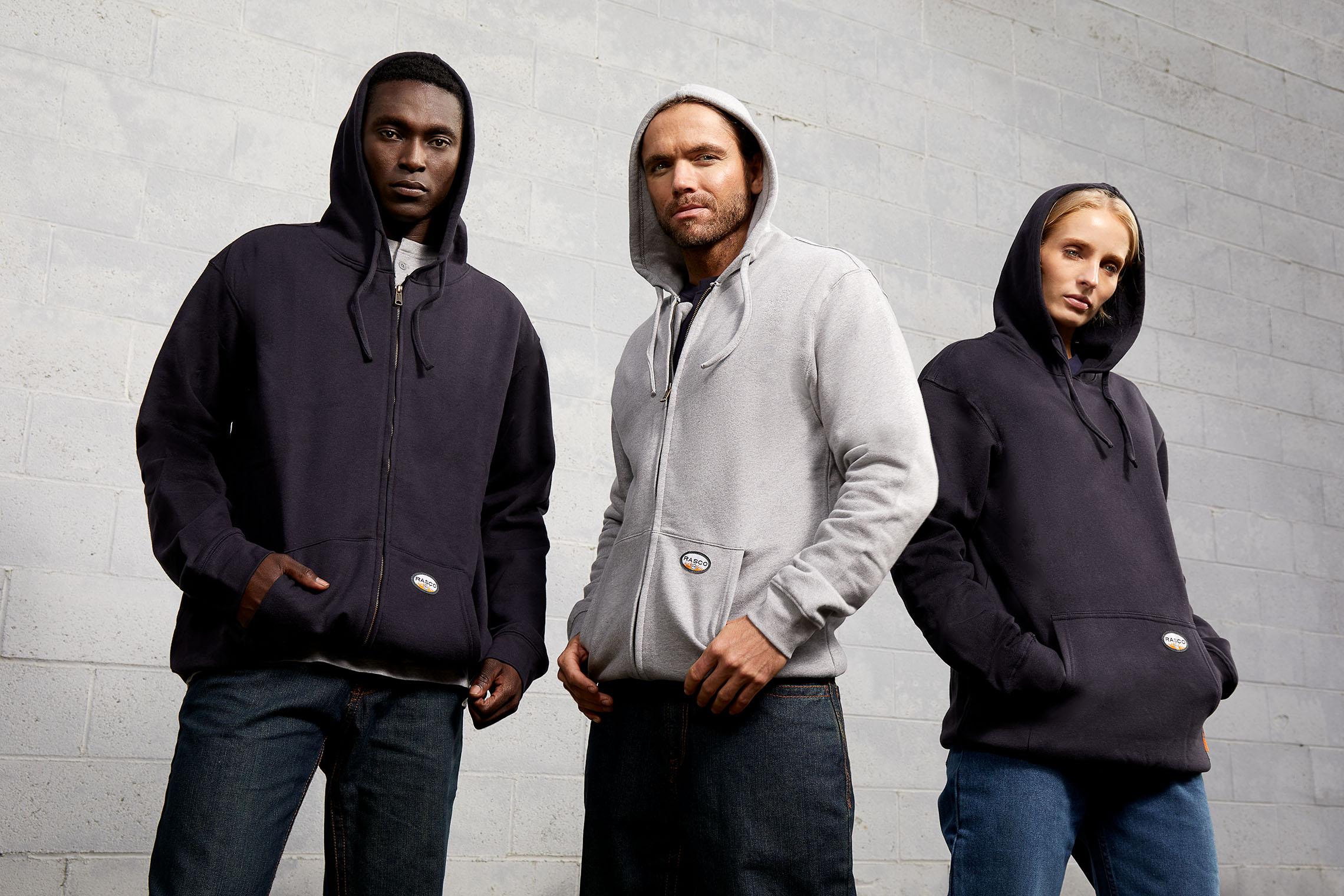 work crew in cool hoodies ready to do hard work - workwear catalog