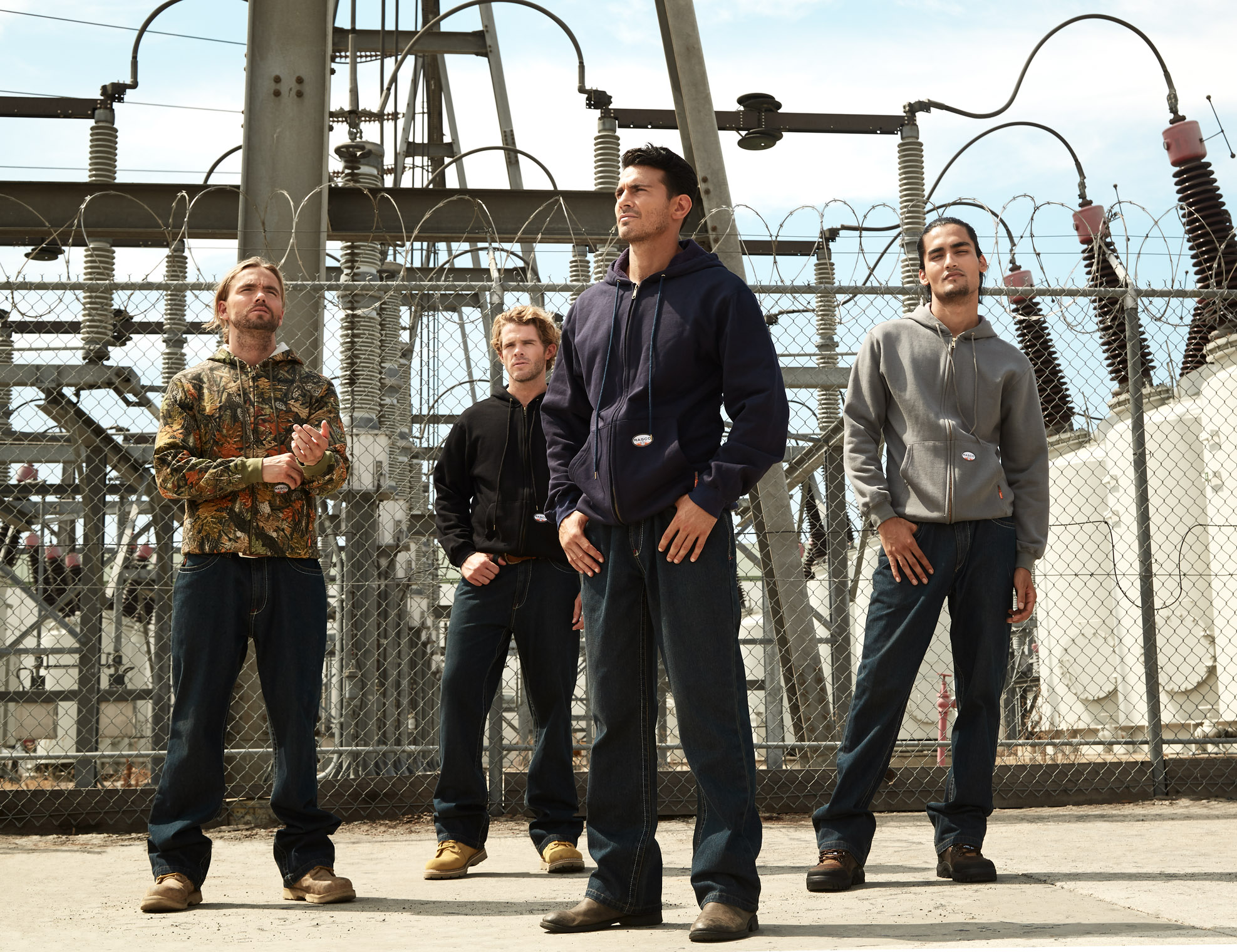 fantastic four work crew in work clothes on construction site ready to work ad campaign
