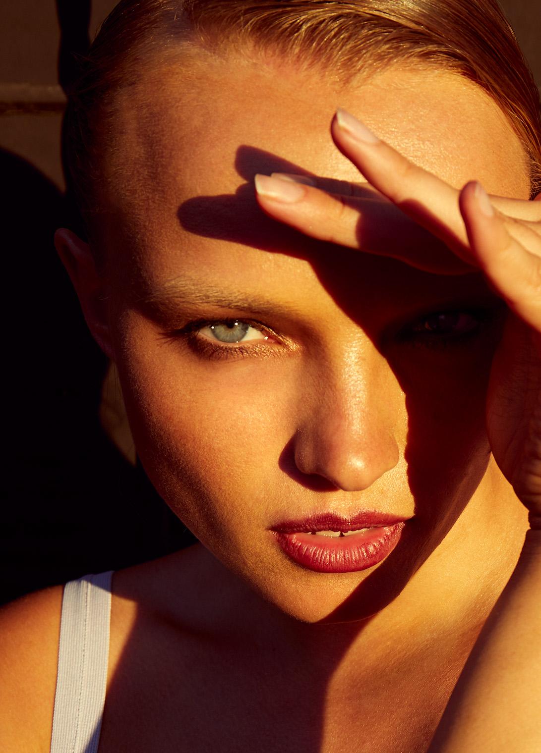 girl with magic eyes closeup portrait in California sunlight