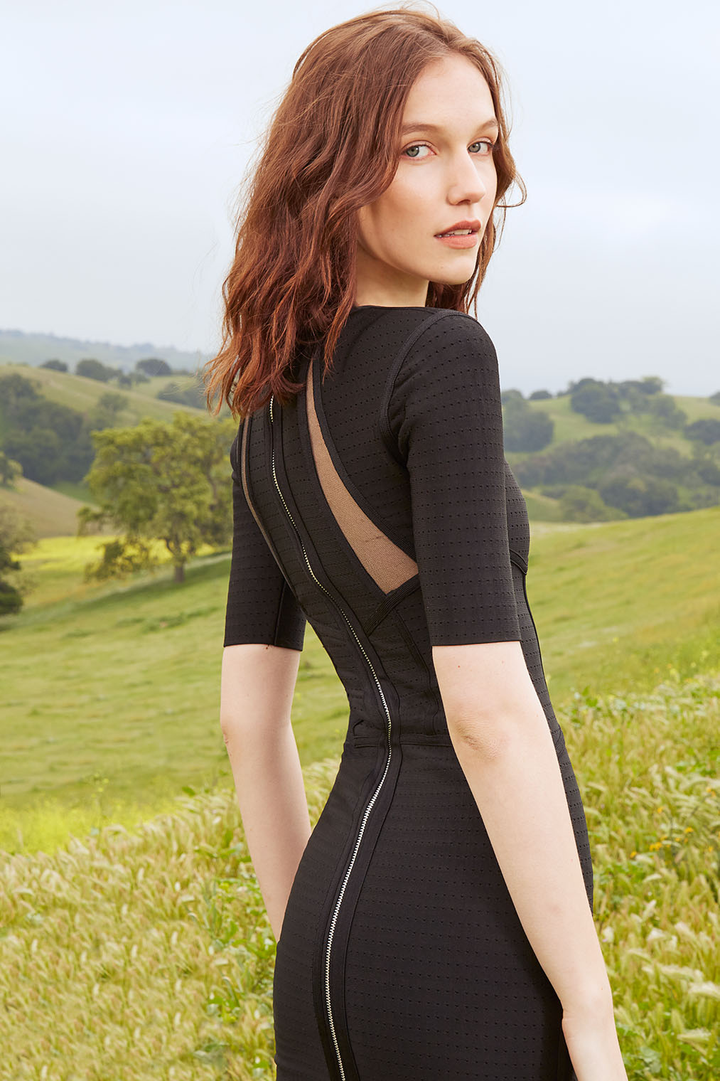 elegant woman in the California rolling hills, high fashion photographer New York and Los Angeles