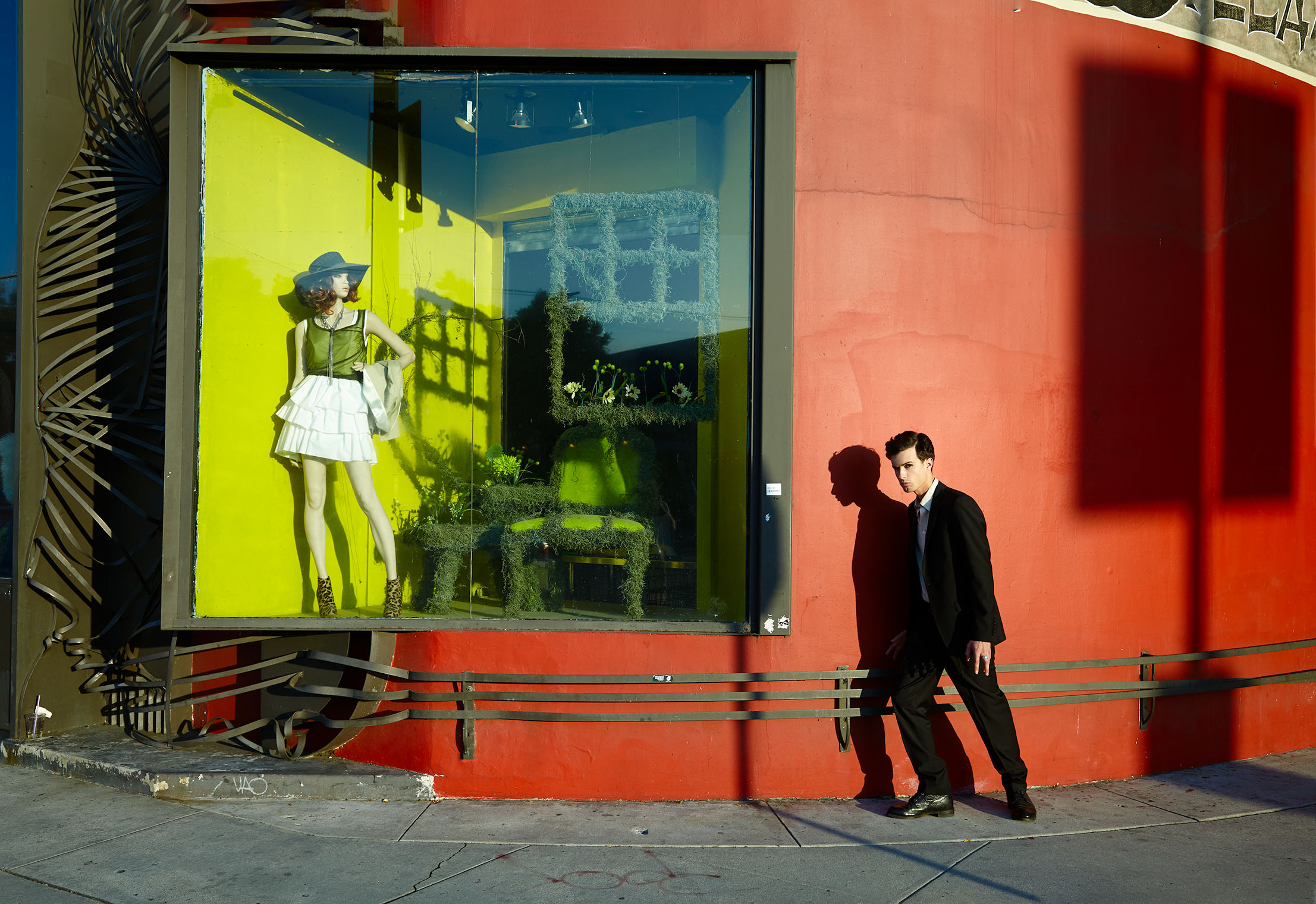 man and mannequin double portrait in Hollywood, California