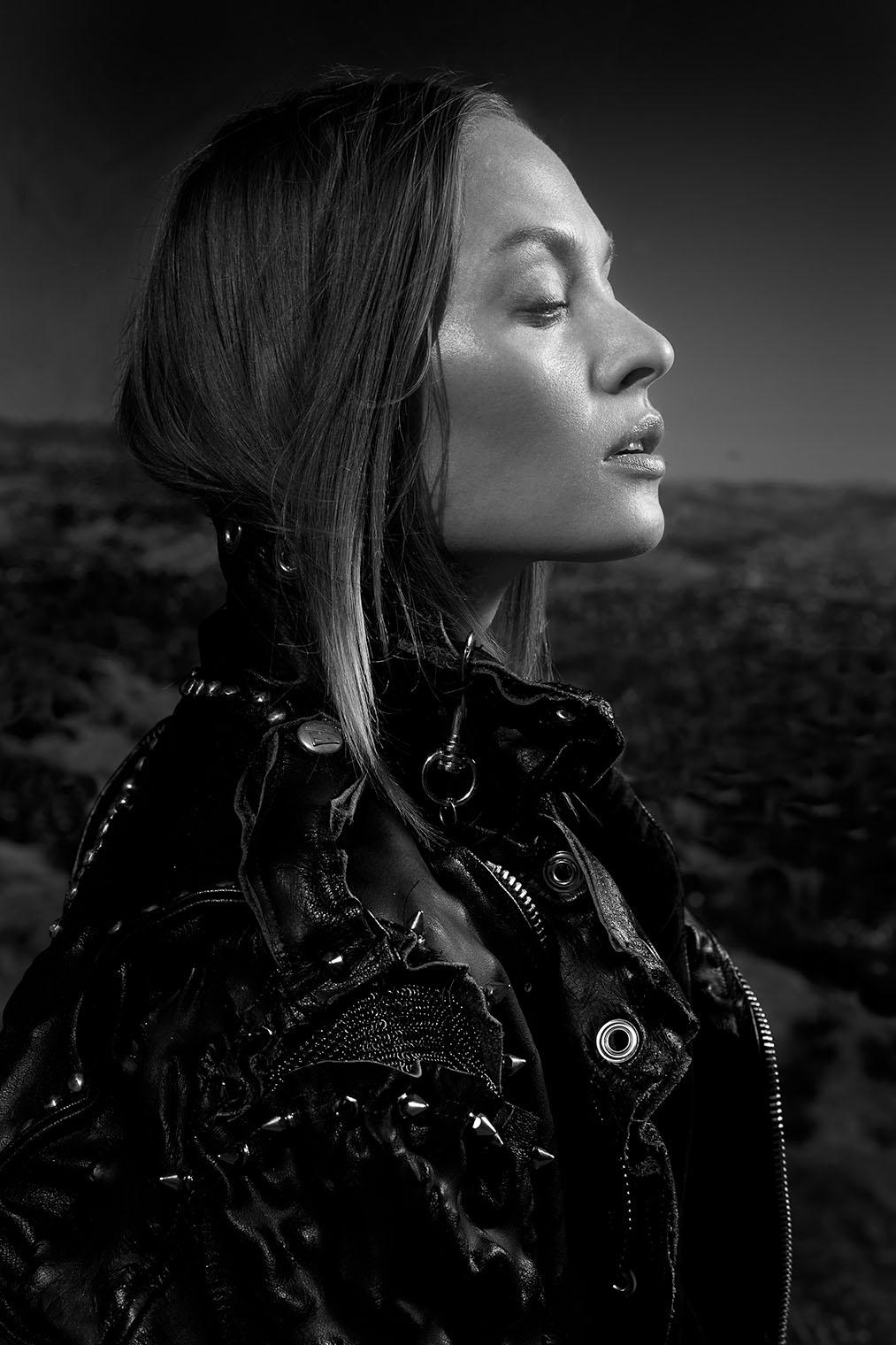 black and white fashion portrait by portrait photographersof Los Angeles