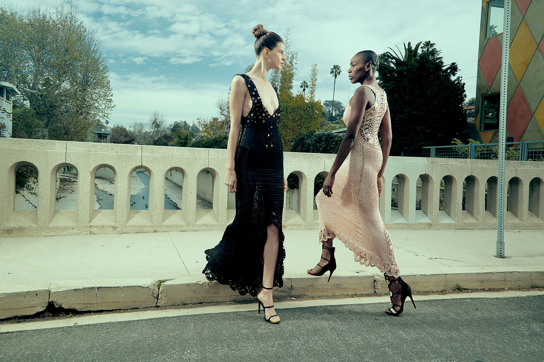 two elegant women in a fashion duel - LA and New York fashion photographers
