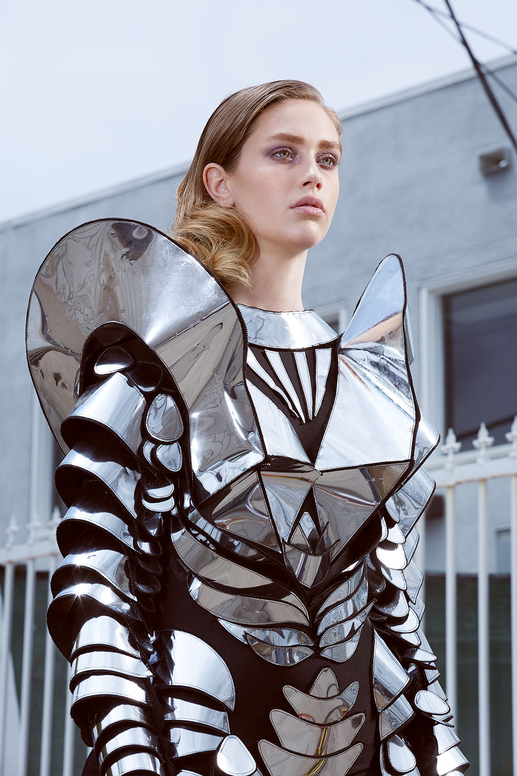 girl in silver high fashion armor in futuristic fashion shoot - best clothing photographers LA