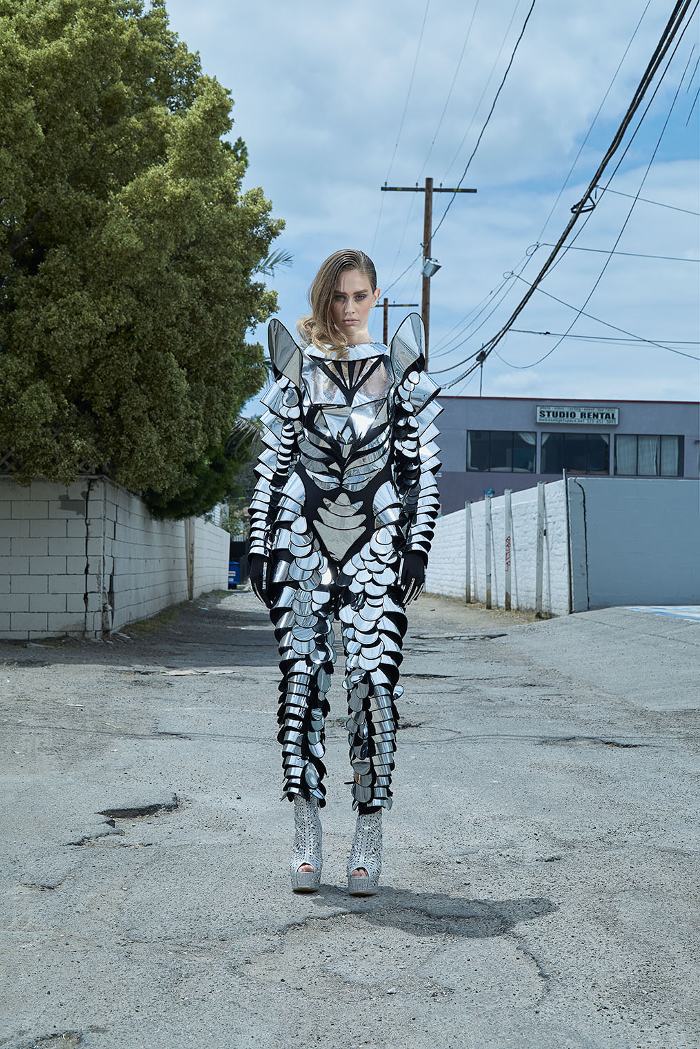 girl in armor style avantarde fashion outfit - best photographers Los Angeles