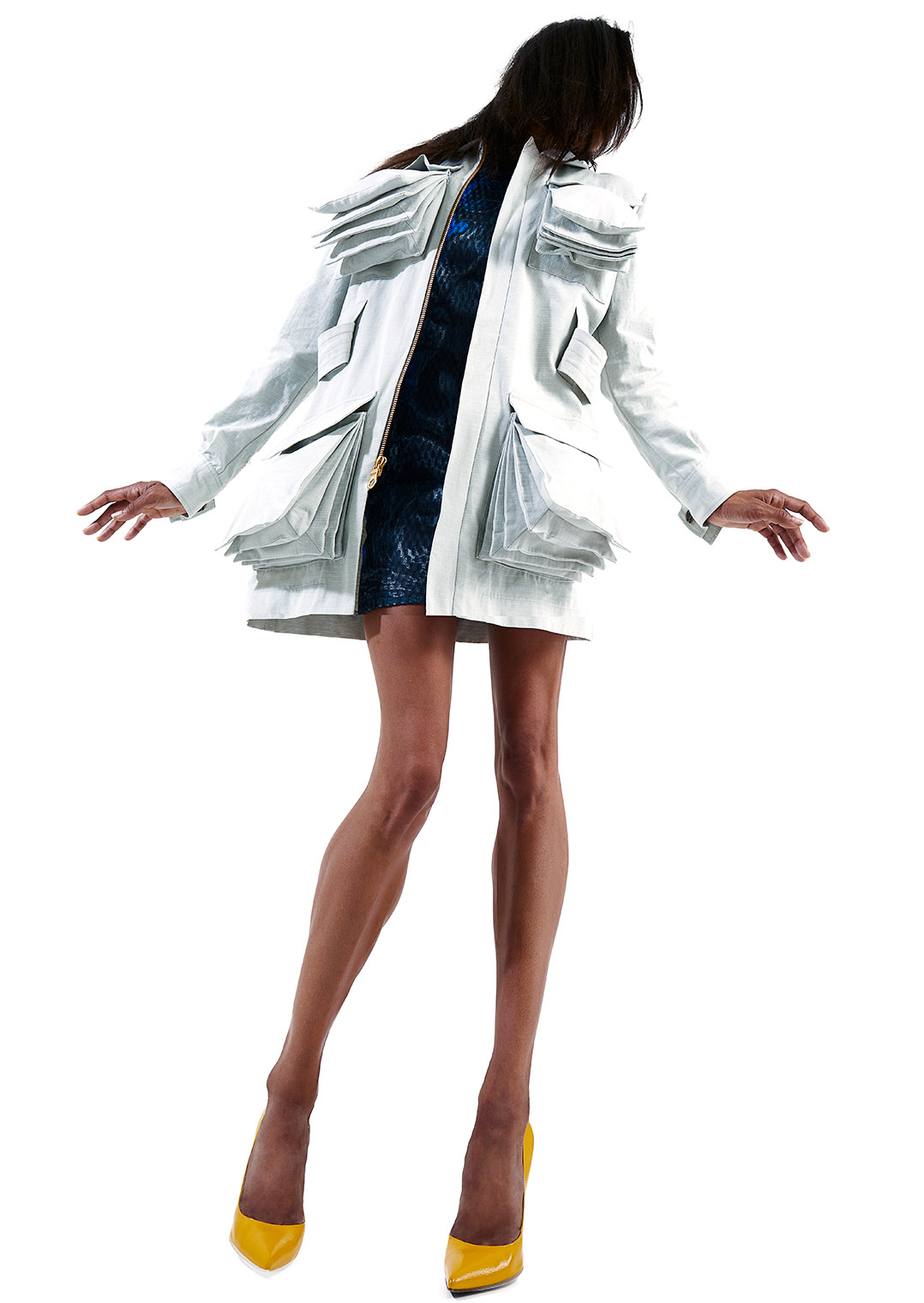 fashion model in white jacket in out of this world setting, concept and realization by photographer Robert Wilde, LA